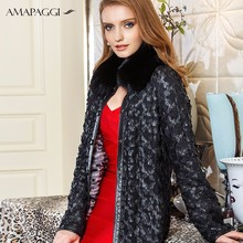 genuine wome leather long sheep skin coat with mink collar