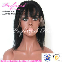 Queen Preferred Hair 8'' light yaki remy human hair lace front wig with bangs for black woman