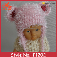 P1202 winter knit cute baby pink beard hat crochet pattern with earflaps