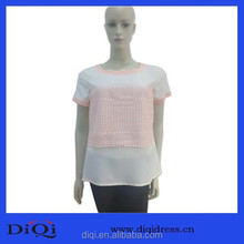 2015 China Supplier Brand Clothing Women Blouse Fashion Design Clothes Womens Ladies Chiffon Tops Lace Short Sleeve Shirt Casual