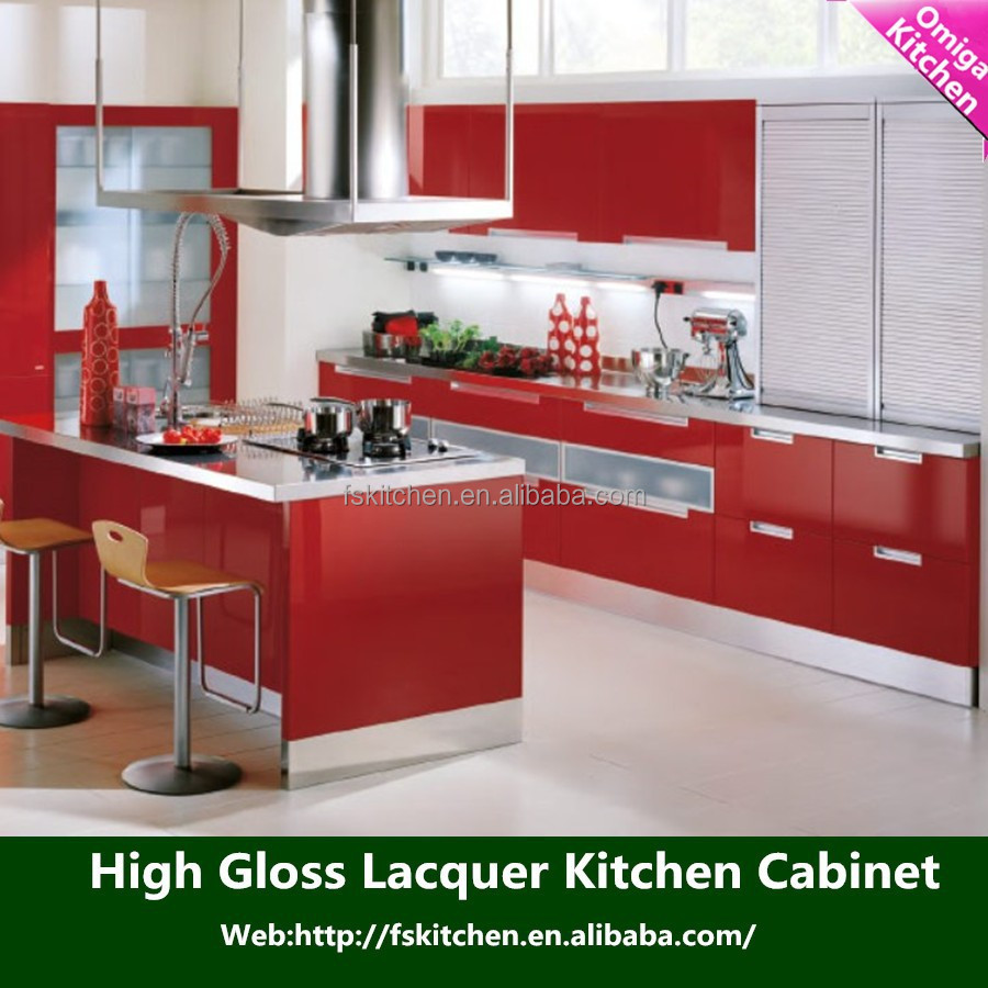 Acrylic Red Painting Kitchen Cabinet High Glossy Acrylic Kitchen