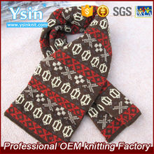 The newest fashion short winter knitted jaquard scarf/chunky muffler for men