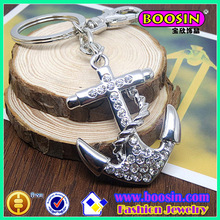 Custom metal keychainmetal keyring wholesale, metal Anchor Rhinestone keychain #16692