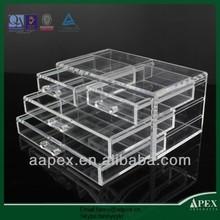 APEX hot selling 4 drawer acrylic makeup organizer/acrylic cmestic storage
