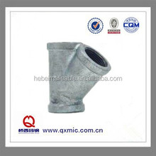 QXM brand ANSI standard threaded cast iron y tee pipe fitting