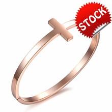 FASHION JEWELRY Women Rose Gold Plated Cross Bangle, Stainless Steel Bangle Bracelet Screw Open Design