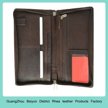 Mens Personalized Credit Card Organizer RFID Blocking Long Leather Zip Around Travel Document Passport Wallet With Wristlet