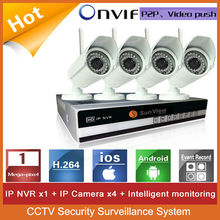 4ch NVR KIT 720P 1.0mp Wireless wifi outdoor IP Camera P2P Real Time 4CH H.264 720P POE NVR Ki CCTV Security Surveillance system