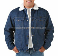 2015 Men Western Sherpa Lined Denim Jacket