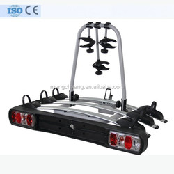 3 bikes tow bar mounted bike carrier in steel with support runners in aluminum