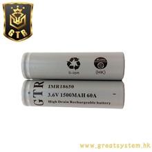 GTR 3.6v 1500mah IMR18650 Li-Ion battery for power tools
