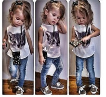 factory selling children summer white t shirt baby clothes set print cat t-shirt little girl clothing set , tshirt with pants