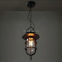 Industrial matte black iron birdcage shaped chain pendant lamp range light for hallway/shop