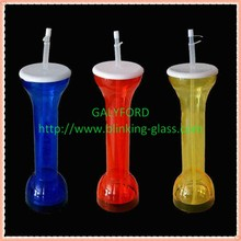 High Quality led colorful plastic drinking yard glass with Straw Bpa free