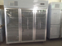 1590L guangzhou manufacturer air-cooled display type vertical 3 door stainless steel used side by side refrigerator