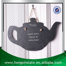 Factory Direct Price Handmade Hanging 43*30*0.5cm Teapot Shape Black Slate Craft (Customized Laser Design)