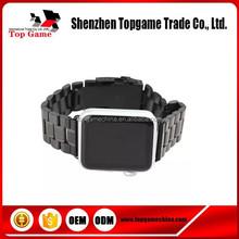 Negro de acero inoxidable correa de reloj Band para Apple venda de reloj con conector adaptador