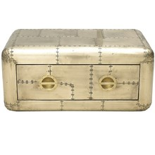Brass Aircraft Blackhawk Trunk Coffee Table with Drawer