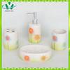 Wholesale flower pattern colorful ceramic bathroom accessories set