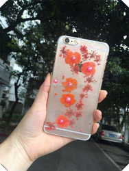 diamond Dry pressed flower cover case natural real flower cell phone case for iphone 6 plus