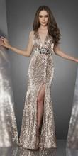 Luxury Split Leg Evening Dress Halter With Beads T Back Italian Design Evening Dress