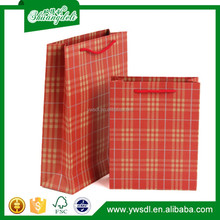 2015 China wholesale plaid kraft paper bag with handle for food paper kraft bag