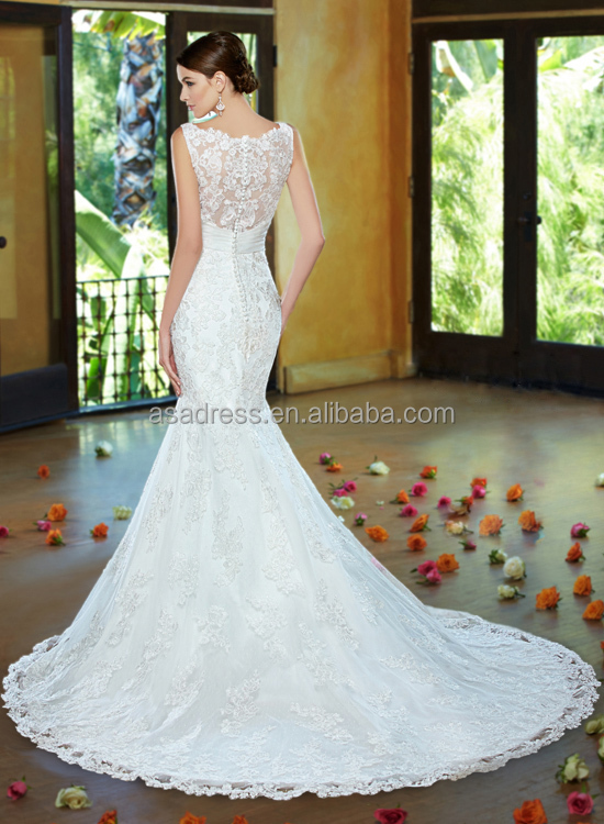 Kc16 Italian Elegant Mermaid Bridal Gowns Lace Illusion Back ...