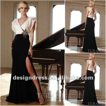 2012 White and black elegant V neck beaded puff cap sleeves evening dress with short sleeve 11262J