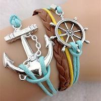 Саншайн браслеты ювелирные изделия магазина женские браслеты моды винтажные сердце руль прямоугольник кожаный браслет многослойных