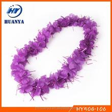 Violet festival carnival artificial hawaiian flower necklace