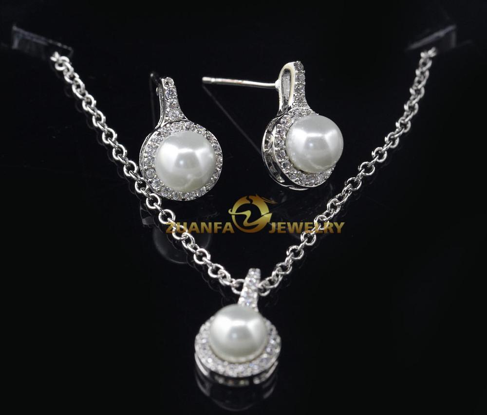 Brautschmuck perlen set  china wholesale 925 silber schmuck set gefälschte reine perle ...