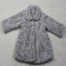 grey sheared short pile PV plush fur coat