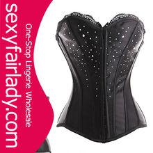 Black steel boned corset leather corset