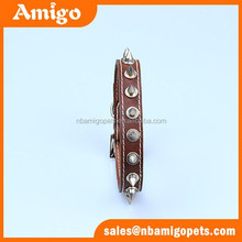 AMIGO PET leather brown spiked dog collar