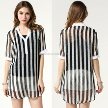 2015 New Design Unique Stripe Fashion Chiffon Lady Blouse