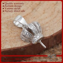XD P932 925 Sterling Silver Crown Jewelry Findings Semi Mount Pendants