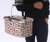 china online wholesale customized single handle 100% polyester aluminum frame foldale shopping basket