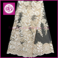 2015 Latest gold Flower Design Textile french Lace / tulle Cupion Lace Embroidery / polish dry Cord Lace For Nigerian Wedding