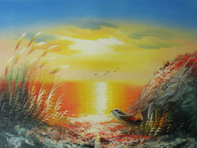 seascape island painting on canvas new handmade JH-400