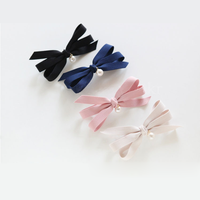 Big bowknot pearl pure colour fabric hairpins for hair