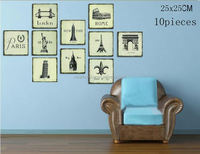 Euro Famous buildings Picture decorative painting modern mural wall painting Art Picture Paint on Canvas Prints 10 pieces 14022