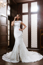 JNXG07 High Collar Sexy See Through Mermaid Wedding Dress Real Picture