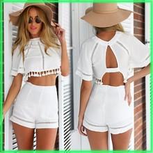 Wholesale Women O-Neck Short Sleeve Hollow Out Crop Tops High Waist Slim Shorts Two Piece Set SV019380