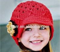 white red beautiful flower handwork knit girl hat children gift girl hat