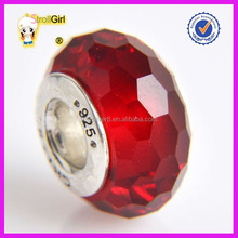 Factory Price Heart Charm 925 Sterling Silver Murano Glass Beads