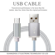 supplier flat nylon braided colored mobile phone usb data cable for samsung