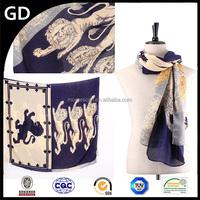GDBX0001 The latest fashion new design print lion pattern thicken voile animal scarf