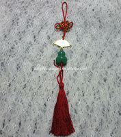 handmade long red tassel with jade for charm Chinese knot tassel tassel with gold