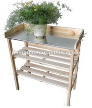 Three tiers' Potted Plant Table with Metal Zinc Coated Tray and Plastic Mats
