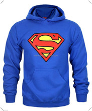 SUPERMAN HOODIE OFFICIAL SWEATSHIRT JUMPER WITH PRINTED LOGO PLAIN BLUE HOODY TOP